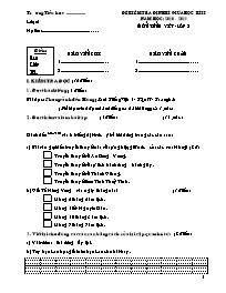 Đề kiểm tra định kì giữa học kì II môn tiếng