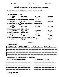 Đề kiểm tra học kỳ I môn học Toán lớp 5