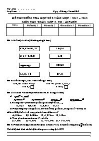 Đề thi kiểm tra học kì I - Môn thi: Toán lớp